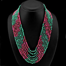 BUYERS DEMANDED 579.00 CTS EARTH MINED 7 LINE RUBY & GREEN EMERALD BEAD NECKLACE