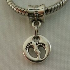 Mother Love Child Baby Infant Footprints Dangle Charm Bead For European Bracelet