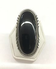 Native American Navajo Hand Made Sterling Silver Black Onyx Ring Size 7