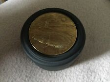 Fine Quality Black Ceramic Circular Trinket Box The Brass Cover With Hog & Tree