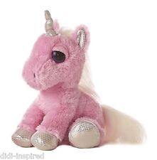 "12"" Dreamy Eyes Pink Unicorn Horse Soft Plush Toy By Aurora"