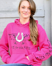 Horseshoe Horse Hoodie,LIVE for the RIDE, cotton, womens, pink,sweatshirt, L