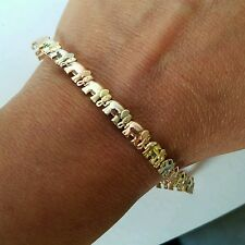 Woman's 14k white rose yellow gold good luck Elephant Bracelet 7.45 InchesLong