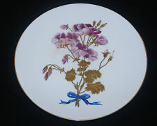 ANTIQUE VICTORIAN MINTON HAND PAINTED PORCELAIN CABINET PLATE VIOLET FLOWER GILT