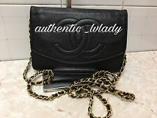 AUTH CHANEL Black caviar leather Wallet On Chain WOC GHW Bag -OL2A