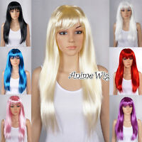 Halloween Fancy Dress Straight Party Wig Cosplay Women Anime Hair Wigs 8 Colors