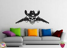 Wall Stickers Vinyl Decal Death Skull Cowboy Revolver Hat Gun Gangster z1010