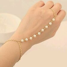 New Pearl Simulant Ring Bracelet with Gold Plated Finish Chain For Women & Girls
