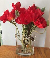 Papaveri in vaso di cristallo in finta composizione floreale da Bloom, nuovo, ma senza scatola