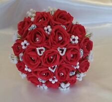 VALENTINES BRIDAL WEDDING POSY RED ARTIFICIAL GYSOPHILA WEDDING BOUQUET HEARTS
