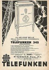 W0060 Radiofonografo Telefunken 345 - Siemens Soc. An. - Pubblicità 1932 - Adv.