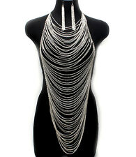 Body Necklace & Earring Set Long Silver Body Chain Women Fashion Harness 1312