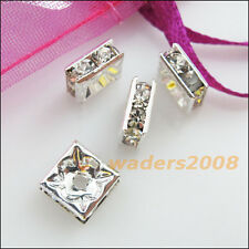 10 New Connectors Rhinestone Square Spacer Bars Silver Plated 8mm