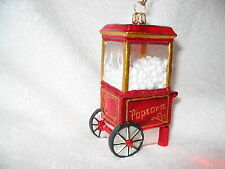 Popcorn Popper Cart Glass Ornament - Snack Popcorn Machine Made in Poland NEW