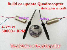 2PCS Coreless Motor+Propeller Rotor Quadrocopter Helicopter aircraft DIY