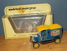 Matchbox Yesteryear Y12 Model T Ford Van Birds Custard Yellow Wheels
