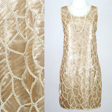 SIZE L AUS 12 GOLDEN GREAT GATSBY 1920s FLAPPER CHARLESTON ART DECO SEQUIN DRESS