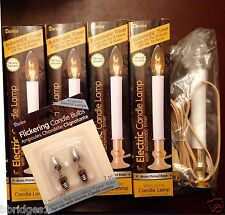 Set of 4 Darice Electric Candle Lamps with Auto Timer & FREE Flame Bulbs  - NIB