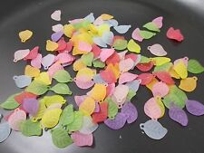 300pcs 18mm x 11mm Acrylic Lucite LEAF LEAVES Charm Beads - Frosted Assorted