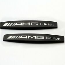 2PCS AMG Logo Aotu Karosserie Metall Dekoration Aufkleber Schwarz Für Benz