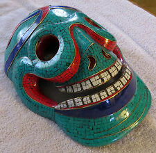 Skull Mask: Wood stone inlay Nepal bone wooden wall hanging tibet Tibet Tibetan