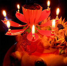 Musical Rotating Rose Lotus Flower Birthday Wedding Party Candle Light One-off