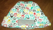Elegant Baby Hat for Boy or Girl White w/ Multi-Color Faces Size 6M