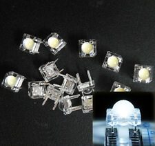 10Pcs 5mm F5 Piranha LED White Round Head Super Bright Light Emitting Diode beus