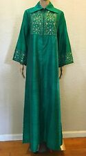 VTG BOHO INDIAN Silk MIRROR Embroidery Emerald Green HIPPIE Caftan Maxi Dress OS