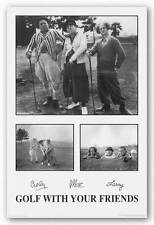 ART POSTER PRINT Three Stooges Golf with your Friends