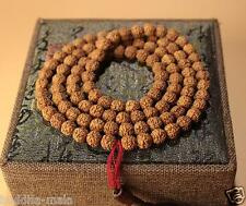 108 8mm Natural Rudraksha Bodhi Seeds Prayer Beads Buddha Meditate Mala Necklace