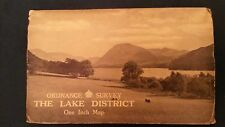 Vintage 1948 Ordnance Survey mapa disecado Paño Lake District Alfred Furness