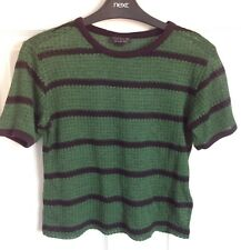 Ladies Green/Black Striped TopShop Cropped Top - Size 10