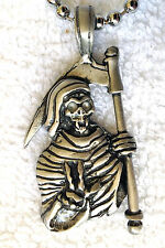 Grim Reaper Pewter Pendant Mens Boys Girls Chain Necklace   PC0545