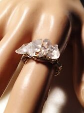 Gold Clear Natural Stone Cluster Boho People Crew Wire Wrap Ring  Sizez 8  Cute