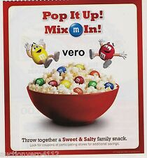 M&M POPCORN 2010 magazine ad advertisement print mms M&M's yellow red blue