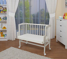 WALDIN Baby Beistellbett, Wiege, Babybett, weiß lackiert, höhenverstellbar
