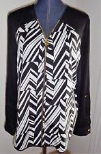 Anne Klein Black White Striped Zip Closure Lion Logo Pull Tunic Top Size XL