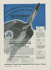 1946 Continental Aviation Ad Skypower Propellers Prop Pitch Aircraft Flying