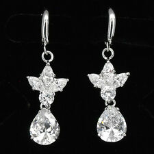 Floral 18K GP Dangle Earrings for Women Wedding Bridal Party Costume Jewel Clear