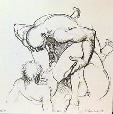 Curiosa superb and rare erotic lithography Marco Silombria Gay art 10