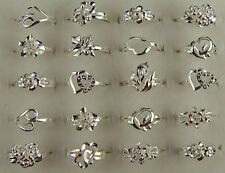 10PCS/lot Silver heart Flowers shaped Ring Size Mixed 7-9