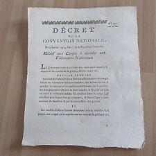 DECRET CONVENTION NATIONALE 1793 congés des volontaires nationaux