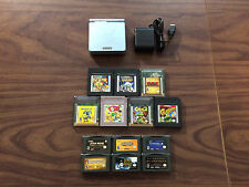 Game Boy Advance, GBA SP Pearl Blue System AGS 101 Bundle + 13 Games -- Has wear