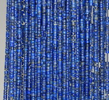 2.5MM LAPIS LAZULI GEMSTONE BLUE ROUND TUBE HEISHI LOOSE BEADS 14""