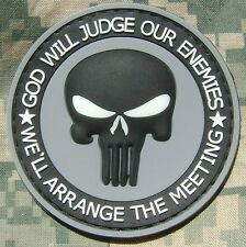 PUNISHER 3D GLOW GOD WILL JUDGE OUR ENEMIES PVC RUBBER TACTICAL ACU VELCRO PATCH