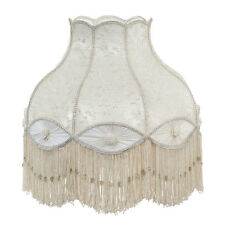 Victorian Fringed Ivory Bell Shaped Lace and Pleated Panel Lamp Shade GWTW
