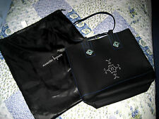 Nanette Lepore Black Leather & Sapphire Pinkette Hand bag Tote Purse w/ Dust Bag