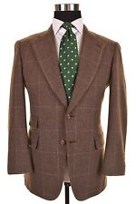 Paul Stuart Brown Check TWEED Wool Ticket Pocket Sport Coat Jacket Blazer 38 S