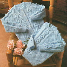 "Baby Raglan Cardigan and Sweater Bobbles Cable ~ 20"" - 26"" ~ DK Knitting Pattern"